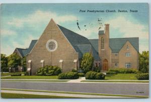 Postcard TX Denton First Presbyterian Church Vintage Linen Q7