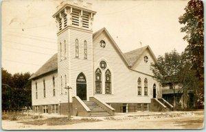 NORA SPRINGS, Iowa RPPC Photo Postcard FIRST M.E. CHURCH Building View c1910s