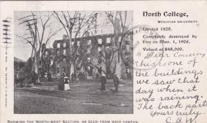 Wesleyan University , Massachusetts , 1906 North College Fire Ruins