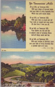 TENNESSEE - YE TENNESSEE HILLS, a poem by MRS. S.L. PITT... Split view 1940s