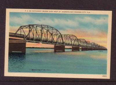 Florida colour PC Hathaway Bridge over West St Andrews Bay, Panama City, unused