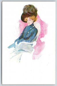 Artist Signed~lovely Lady~Victorian High Neck Coat~Feather Hat~Water Color~Czech