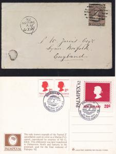 Palmpex 82 Barred Z Cancellation Stamp 2x Postcard New Zealand FDC