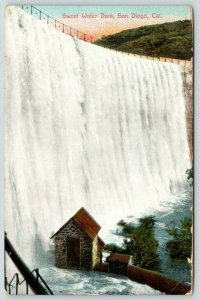 San Diego California~Sweet Water Dam Pours Down to Little Cottage Below~1910