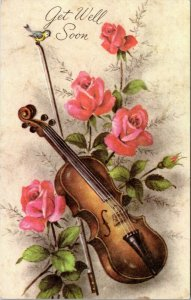 Get Well Soon - Violin with flowers and bird - chrome era postcard