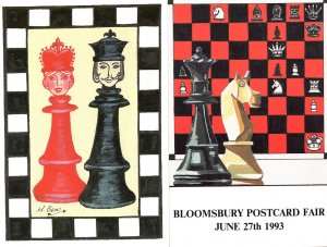 Chess Advertising Fair Exhibition Bloomsbury 2x Limited Postcard s