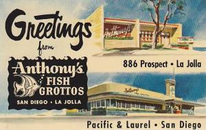 2-Views, Greetings from Anthony's Fish Grottos, San Diego & La Jolla, Califor...