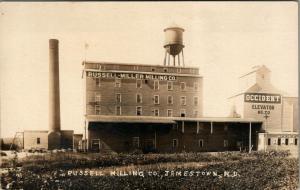 Jamestown ND Miller Milling~Watertower~Smokestack~Occidental Elevator~c1914 RPPC