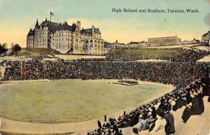 Tacoma Washington High School And Stadium Grand Stands Antique Postcard K12872