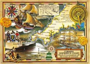 Map Postcard, Cornish Shipwreck Chart, Ships History, Coat of Arms, Cornwall AK7