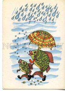 131143 Dressed FISH w/ UMBRELLA old Russian FANTASY PC