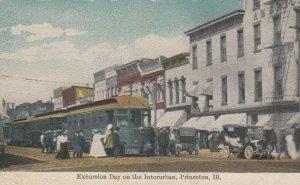 PRINCETON , Illinois , 1900-10s ; Interurban Trolley Excursion Day , Main Street