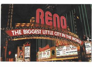 Reno Nevada Arch at Night Fitzgerald's Casino Front Hilton Sign 1960s