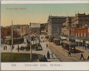 SYDNEY AUSTRALIA - Circular Quay + trolleys 1910s era / MOUNTED ON CARDBOARD