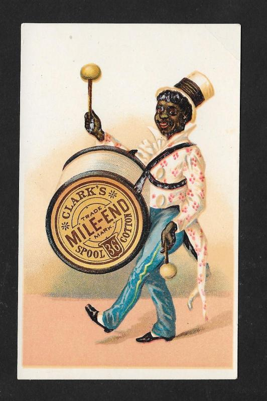 VICTORIAN TRADE CARD Clark's Thread Black Drummer