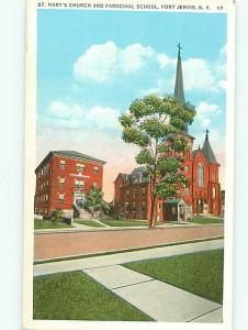Port Jervis New York St Marys Church Parochial School 17  Postcard # 8847