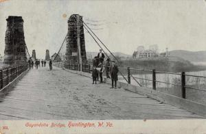 Huntington West Virginia Guyandotte Bridge Antique Postcard J47038