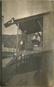 1935 Turkey Flag Soldier Flag Mining Related Man Shaving RPPC Real Photo