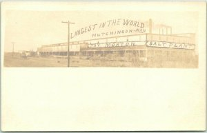 c1900s HUTCHINSON, Kansas RPPC Postcard MORTON SALT PLANT Largest in the World