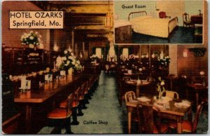 Springfield, Missouri Postcard HOTEL OZARKS Coffee Shop / Room View LINEN c1940s