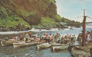 Bounty Bay Pitcairn Island Harbour Rwo & Diesel Boats Leaving Stores Postcard