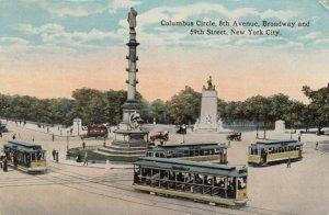 NEW YORK CITY, New York, PU-1919; Columbus Circle, Street Cars