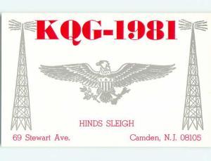 patriotic EAGLE BIRD - QSL CB HAM RADIO CARD Camden New Jersey NJ t9086