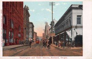 Washington and Third Street, Portland, Oregon, Early Postcard, Unused