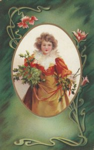 Oval framed Little girl wearing evening gown holding holly, 1900-10s