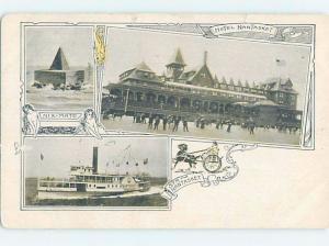 Pre-1907 THREE VIEWS ON ONE POSTCARD Nantasket Beach - Hull MA A2667