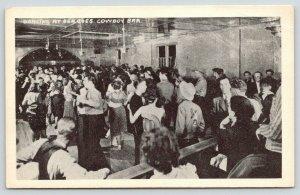 Jackson Hole WY~Ben F Goe's Cowboy Bar~Dancers~Starlight Stage~1940s B&W Litho