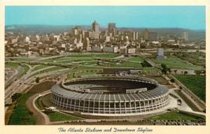 Atlanta Georgia~Atlanta Stadium & Skyline~Braves Baseball~Falcons Footaball~1965