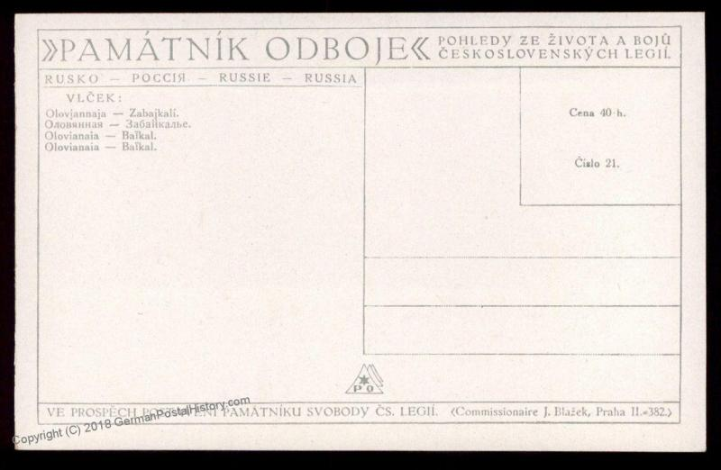 Czech Legion in Russia WWI Olovianaia Soldier Artist Signed Patriotic Card 90324