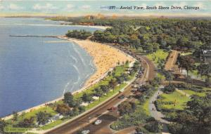 Chicago Illinois~South Shore Drive Aerial View~Lake on Left~1940s Linen Pc
