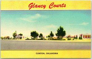 CLINTON, Oklahoma ROUTE 66 Roadside Postcard GLANCY COURTS Motel Linen c1950s