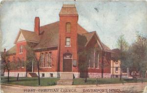 Davenport Iowa~First Christian Church~House Behind~1910 Postcard