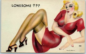 Artist-Signed JAY JACKSON Postcard Blond Girl Red Dress LONESOME?? #353 Linen