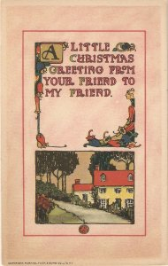 Landscape . Christmas Message  Tuck Christmas Greetings  Ser. PC # 555