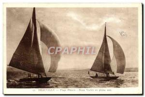 Postcard Old Boat Sailboat Deauville Beach Two flowered sea Yacht