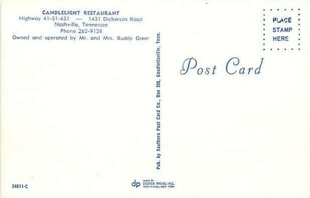 TN, Nashville, Tennessee, Candelight Restaurant, 196s Cars, Dexter Press 24611-C