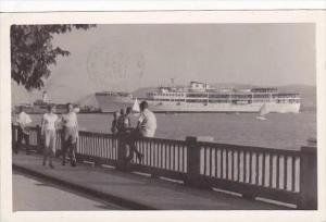 Yugoslavia Crikvenica Harbor Scene With Steamship 1959 Real Photo