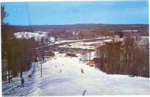 Caberfae Ski Area from top of Shelter Ski Slope, Cadillac, Michigan, MI, 1968
