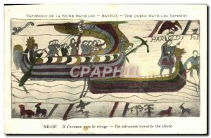 Old Postcard Tapestry of Queen mathilde Bayeux He advances on the shore