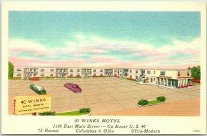 1940s COLUMBUS, Ohio Postcard 40 WINKS MOTEL Highway 40 Roadside Linen Unused