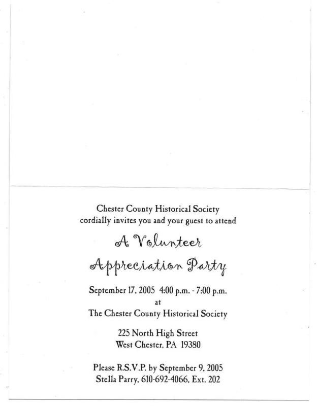 Chester County PA Historical Society CCHS Invitation Card