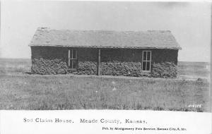 Meade County Kansas~Sod Claim House~1920s? Postcard rppc