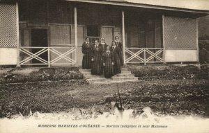 PC CPA SAMOA, PACIFIC, NOVICES INDIGÉNES ET LEUR MAITRESSE, Postcard (b19456)