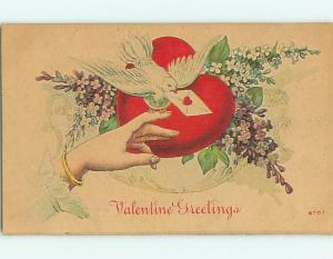 Unused Divided-Back valentine BIRD WITH LETTER TO WOMAN'S FINGER & FLOWERS v2120