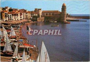 Modern Postcard Collioure La Rade Church Boat