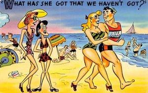 What Has She Got That We Haven't Got? Beach Scene, Cartoon Occupation, Lifegu...